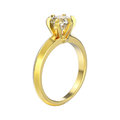 3D illustration yellow gold traditional solitaire engag