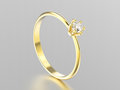 3D illustration yellow gold traditional solitaire engagement dia