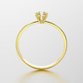 3D illustration yellow gold traditional solitaire engagement pec