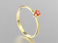 3D illustration yellow gold traditional solitaire engagement rin
