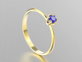 3D illustration yellow gold traditional solitaire engagement ring with sapphire with reflection