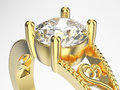 3D illustration zoom macro yellow gold ring with diamon