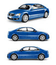 3D Image of Blue Family Car Royalty Free Stock Photo