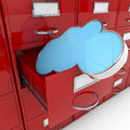 D image file cabinet and cloud a render of with cabinets computing concept Stock Images