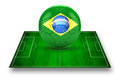 D image of green soccer field and soccer ball with brazil logo on it Royalty Free Stock Photo