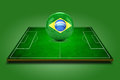 D image of green soccer field and soccer ball with brazil logo on it on background Royalty Free Stock Photo