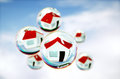 3D Image of real-estate (house) bubbles Royalty Free Stock Photo