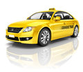 3D Image of Yellow Taxi Royalty Free Stock Photo