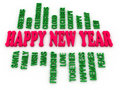 D imagen happy new year in tag cloud Royalty Free Stock Photo