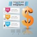 3D infographic design. Dollar icon.