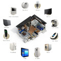 3D infographics of smart home automation technology Royalty Free Stock Photo