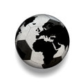 D isolated black and white soccer ball with world map world over reflects the success of the efforts Royalty Free Stock Images