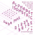 3d isometric alphabet font from cubes Royalty Free Stock Photo