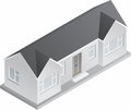 D isometric bungalow drawing of a double fronted single story house Royalty Free Stock Images