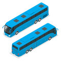 3D isometric bus. Tourist bus. Global transportation. Vector isometric bus. Isometric bus icon. Isolated bus. 3D bus Royalty Free Stock Photo