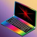 3D isometric laptop with a curved screen in rainbow coloring EPS10 Royalty Free Stock Photo