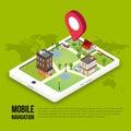 3d isometric mobile GPS navigation concept