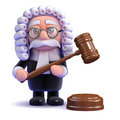 D judge passes sentence render of a with gavel Stock Image