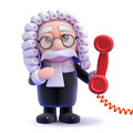 D judge phone call render of a holding a red telephone Royalty Free Stock Images