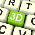 D key shows three dimensional printer or font showing Stock Image