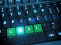 D keyboard word goal rendering of black computer with bright shiny green button Royalty Free Stock Photography