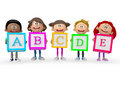 D kids holding abc cubes isolated over a white background Royalty Free Stock Image