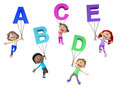 D kids with letters of the alphabet isolated over white background Royalty Free Stock Photos