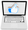 D laptop with like sign on white background Royalty Free Stock Image
