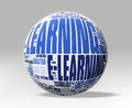 D learning globe white sphere with e concepts clip path included Royalty Free Stock Photography