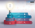 3d light bulb timeline infographics with icons set. vector. illu Royalty Free Stock Photo