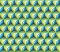 3d Light Green & Blue contour abstract geometrical cubes seamless pattern background Royalty Free Stock Photo