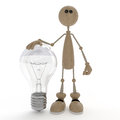 The d little man with a bulb don t turn on light protect electric power Royalty Free Stock Photography