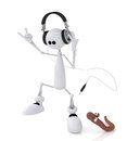 The d little man with earphones small white person on springs listens to music and dances Royalty Free Stock Photo