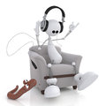 The d little man with earphones small white person on springs listens to music and dances Royalty Free Stock Images