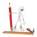 The d little man with a pencil white person measures length of worm by ruler Stock Photos