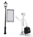 The d little man with a portfolio white stands near sign Royalty Free Stock Photo