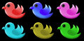 D logos cute birds different colors like green red pink blue orange colorful attractive please download png if you want photo to Stock Photos