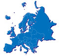 D looking map render european part detailed country boundary lines Royalty Free Stock Photo