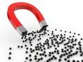 D magnet attracting black spheres render of Stock Photos
