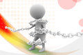 D man bind chain illustration with colorful background side angle view Stock Photos