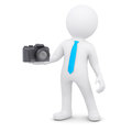D man and camera white a isolated render on a white background Royalty Free Stock Images