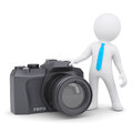 D man and camera white a isolated render on a white background Royalty Free Stock Photography