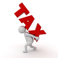 3d man carrying word tax on his back on white background with shadow 3D render