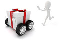 D man chasing a moving present box on white Stock Photo