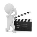 D man with clapper board on white background Royalty Free Stock Photo