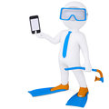 D man in flippers holding smartphone white and mask a isolated render on a white background Stock Image