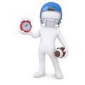 D man in football helmet holds red alarm clock a isolated render on a white background Stock Images