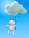 D man hanging from a cloud in the blue sky Royalty Free Stock Image