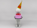 D man happy birthday character Royalty Free Stock Images