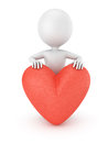 D man with heart on white background render Royalty Free Stock Photos